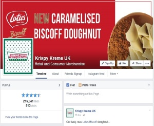 Screenshot of Hull, England Krispy Kreme Facebook page