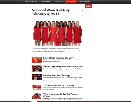 American Heart Association Go Red for Women National Wear Red Day website.